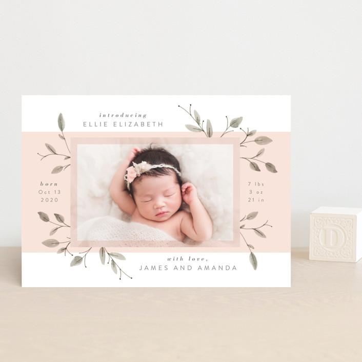 """Petite"" - Birth Announcement Postcards in Blush by JeAnna Casper."
