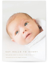 This is a brown birth announcement postcard by Jennifer Postorino called Say Hello To... with standard printing on signature in postcard.