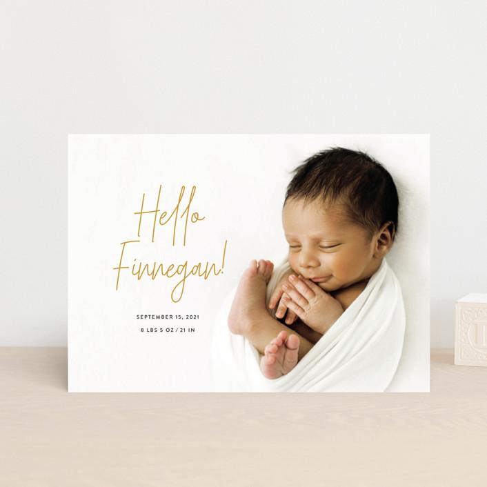 """Hello Everyone"" - Modern Birth Announcement Postcards in Mustard by Ashley Rosenbaum."