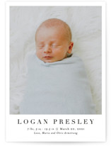 This is a black birth announcement postcard by Toast & Laurel called Menil with standard printing on signature in postcard.
