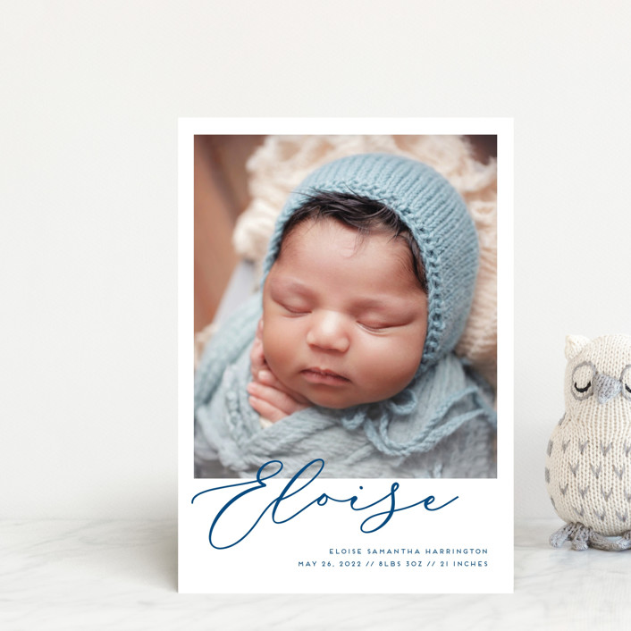 """First-Name Basis"" - Modern Birth Announcement Postcards in Onyx by Genna Blackburn."