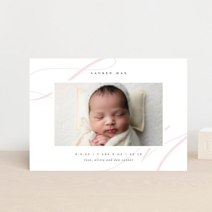 """Softest"" - Birth Announcement Postcards in Blush by Lauren Chism."