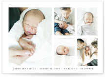 This is a black birth announcement postcard by Shari Margolin called Lovely Grid with standard printing on signature in postcard.