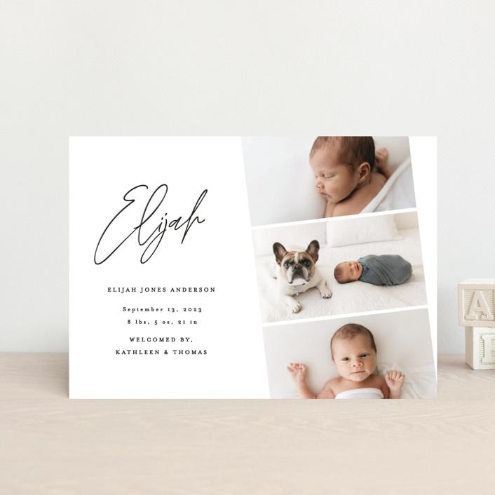 """""""Modern Photo Strip"""" - Birth Announcement Postcards in Ink by Anna Elder."""