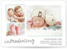 This is a green birth announcement postcard by Carolyn MacLaren called All The Details with standard printing on signature in postcard.