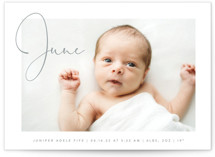This is a white birth announcement postcard by Olivia Raufman called Chic Introduction with standard printing on signature in postcard.
