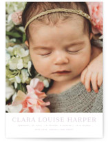 This is a purple birth announcement postcard by Toast & Laurel called Canvas with standard printing on signature in postcard.