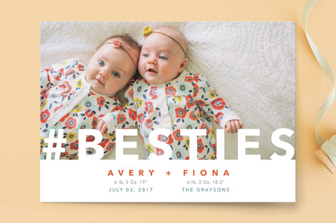 Hashtag Besties Birth Announcement Postcards