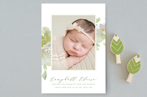 Modern Sweeping Blooms Birth Announcement Postcards