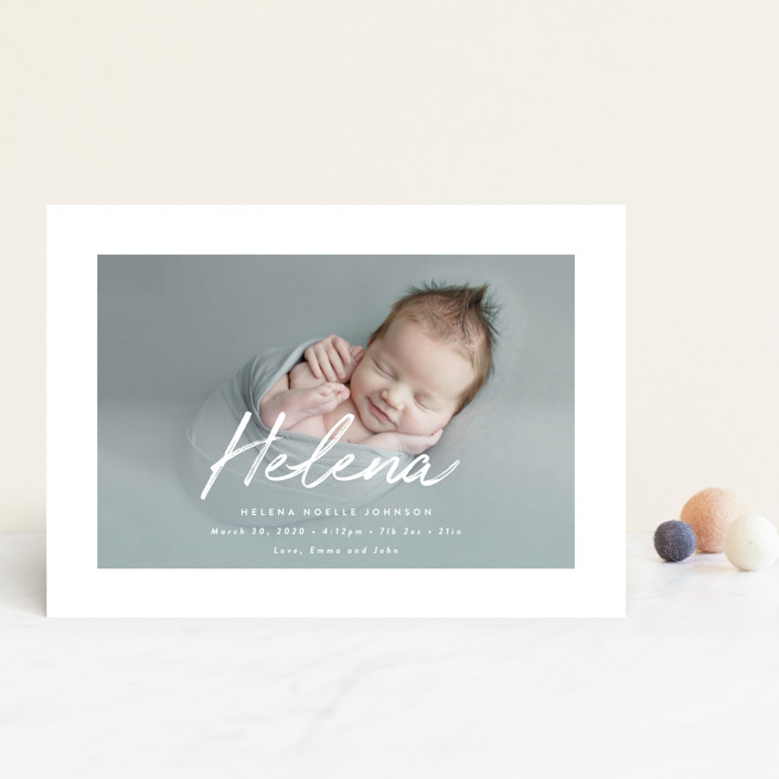 """Helena"" - Modern Birth Announcement Postcards in Pearl by Basil Design Studio."