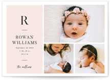 This is a pink birth announcement postcard by Robert and Stella called Monogram Block with standard printing on signature in postcard.