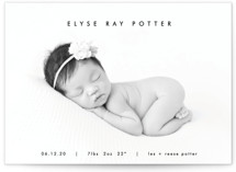 This is a black birth announcement postcard by AK Graphics called mod minimalist with standard printing on signature in postcard.