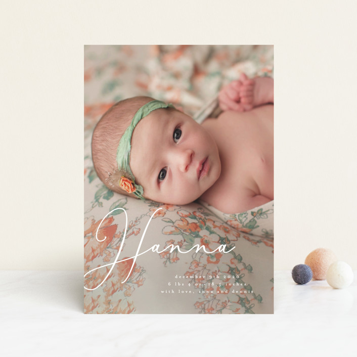 """""""sweetness in script"""" - Modern Birth Announcement Postcards in Snow by frances."""