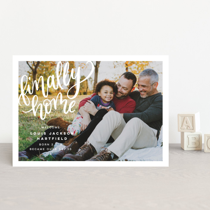 """""""Finally Home"""" - Modern Birth Announcement Postcards in Snow by Pink House Press."""