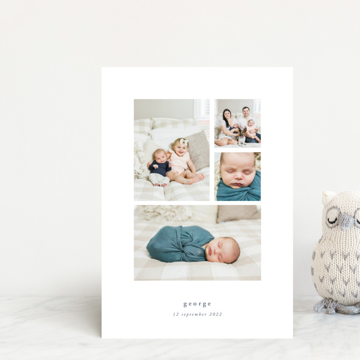 """""""Quietly"""" - Birth Announcement Postcards in Sable by Rebecca Daublin."""