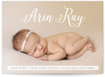 This is a white birth announcement postcard by Erin Deegan called Baby Script with standard printing on signature in postcard.