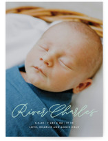 This is a green birth announcement postcard by Lauren Chism called Swing with standard printing on signature in postcard.