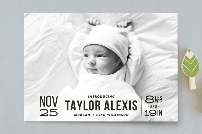 """""""Bold Beginnings"""" - Birth Announcement Postcards in Pepper by 24th and Dune."""