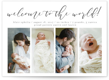 A Timeless Welcome Birth Announcement Postcards
