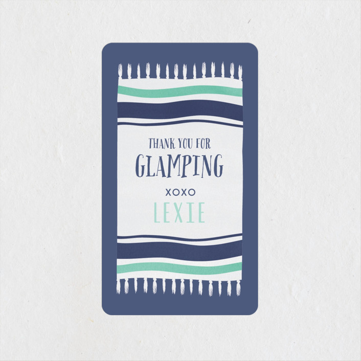 """""""Gone Glamping"""" - Bachelorette Party Favor Stickers in Aqua Navy by Angela Garrick."""