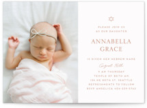 This is a pink bris baby naming invitation by Morgan Kendall called Star printing on signature in standard.