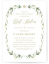 This is a green bris baby naming invitation by Carolyn MacLaren called Eucalyptus Wreath printing on signature in standard.