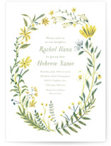 This is a green bris baby naming invitation by Morgan Ramberg called Cheerful Blessing printing on signature in standard.