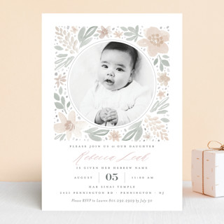 floral frame bris and baby naming invitations by r minted