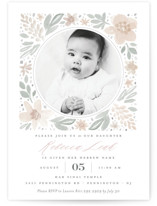 This is a pink bris baby naming invitation by Robert and Stella called Floral Frame printing on signature in standard.