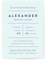 This is a blue bris baby naming invitation by Genna Cowsert called collected printing on signature in standard.