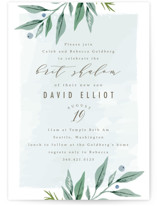 This is a blue bris baby naming invitation by Karidy Walker called soft branches printing on signature in standard.