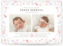 This is a pink bris baby naming invitation by Jana Volfova called pastel florals printing on signature in standard.