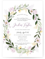 This is a purple bris baby naming invitation by Susan Moyal called Floral Sprinkle printing on signature in standard.