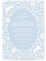 This is a blue bris baby naming invitation by Angela Thompson called Woodland Meadow printing on signature in standard.