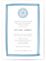 This is a blue bris baby naming invitation by Shirley Lin Schneider called Painted Border printing on signature in standard.