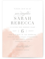 This is a pink bris baby naming invitation by Kristie Kern called Whisper printing on signature in standard.