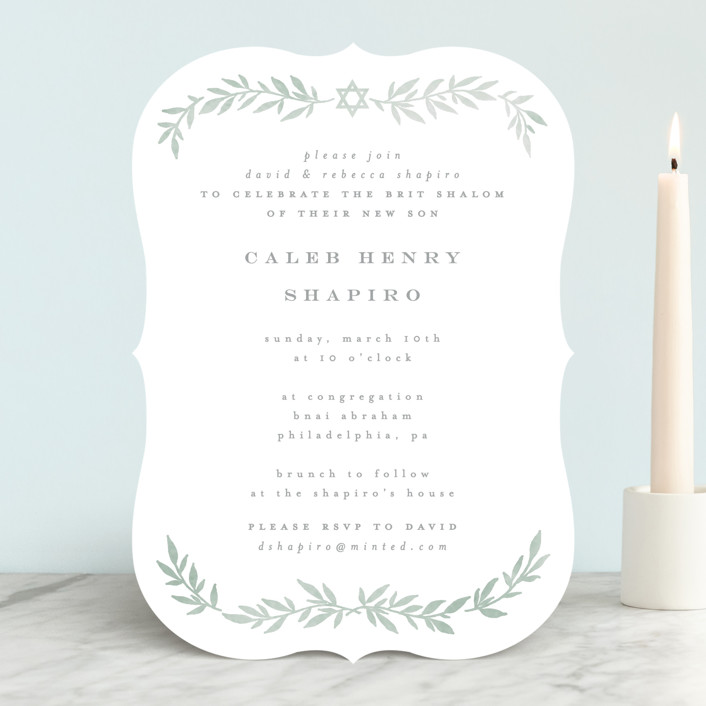 Simple Foliage Bris And Baby Naming Invitations By Everett Paper