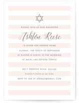 This is a pink bris baby naming invitation by Lauren Chism called Sleek printing on signature in standard.