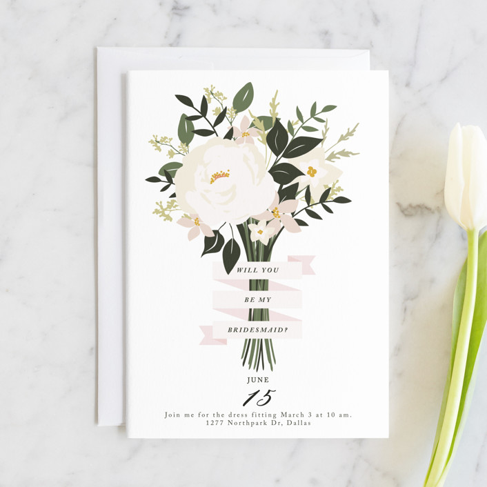 """Bridesmaid Bouquet"" - Bridesmaid Cards in Blush by Haley Warner."