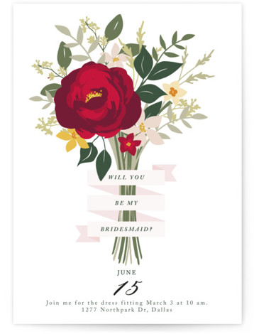 This is a red Bridesmaid Cards by Haley Warner called Bridesmaid Bouquet with Standard printing on Signature in Classic Fold Over (Message Inside) format. A hand drawn bouquet is bound with a ribbon asking your most important question!