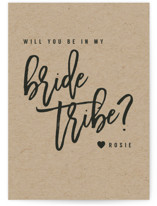This is a black will you be my bridesmaid card by Hudson Meet Rose called Bride Tribe with standard printing on signature in standard.