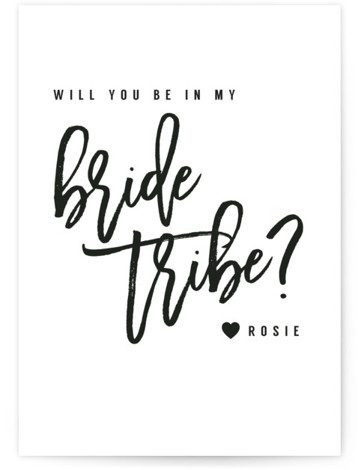 This is a black and white Bridesmaid Cards by Hudson Meet Rose called Bride Tribe with Standard printing on Signature in Classic Fold Over (Message Inside) format. A typographically bold design asking for your best girls to be apart of ...