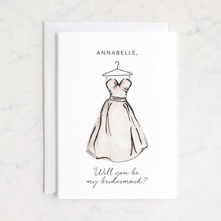 """""""Bridesmaid Dress"""" - Bridesmaid Cards in Blush by Itsy Belle Studio."""