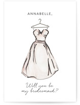 This is a pink will you be my bridesmaid card by Itsy Belle Studio called Bridesmaid Dress with standard printing on signature in standard.
