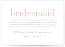 This is a pink will you be my bridesmaid card by Jennifer Postorino called Definition of A Bridesmaid with standard printing on signature in standard.