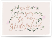 This is a green will you be my bridesmaid card by Creo Study called Vintage Romance with standard printing on signature in standard.