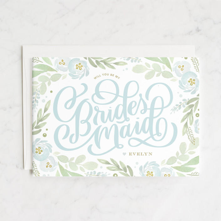 """""""Ranunculus Frame"""" - Bridesmaid Cards in Frost by Kristen Smith."""