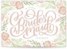This is a pink will you be my bridesmaid card by Kristen Smith called Ranunculus Frame with standard printing on signature in standard.