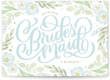 This is a blue will you be my bridesmaid card by Kristen Smith called Ranunculus Frame with standard printing on signature in standard.