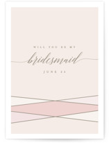 This is a pink will you be my bridesmaid card by Karidy Walker called Wrapped Up with standard printing on signature in standard.